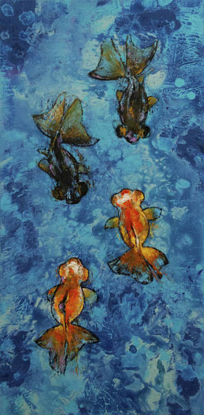 Wall Art - Painting - Butterfly Tail Goldfish by Michael Creese