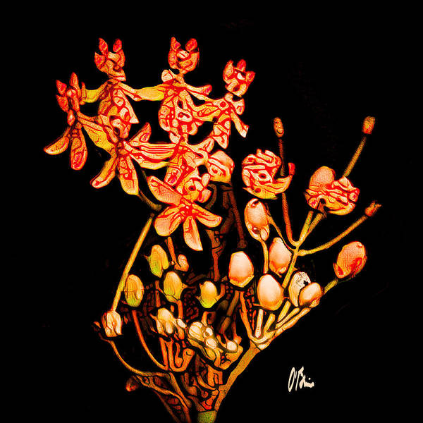 Butterfly On Flower Digital Art - Butterfly Weed Abstract by Claudia O'Brien