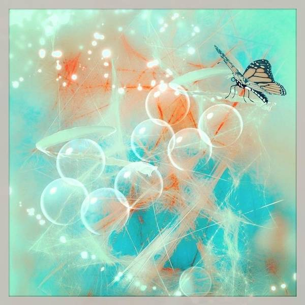 Wall Art - Digital Art - Butterfly With Angel Bubbles by Agnes V
