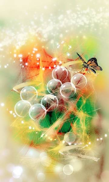 Wall Art - Digital Art - Butterfly With Angel Bubbles II. by Agnes V