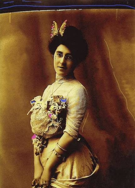 Photograph - Butterfly Woman Henry Buehman Photo Tucson Arizona C. 1900 Color Added 2008 by David Lee Guss