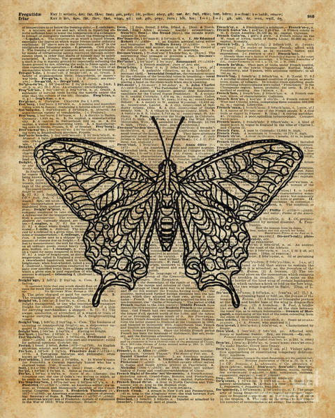 Wall Art - Digital Art - Butterfly Zentagle Vinatge Dictionary Art by Anna W