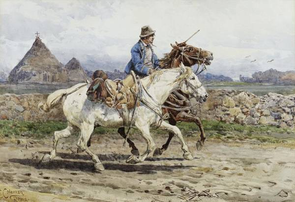 Painting - Buttero Riding In The Roman Campagna by Celestial Images