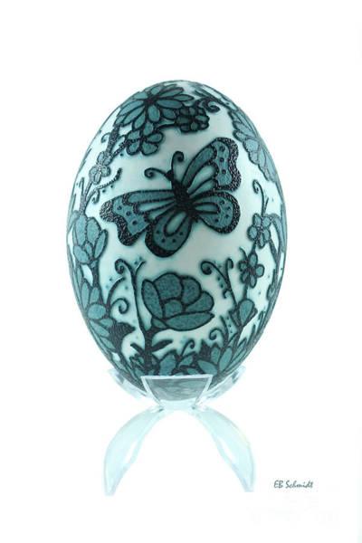 Buttery Fly Garden Emu Egg Art Print