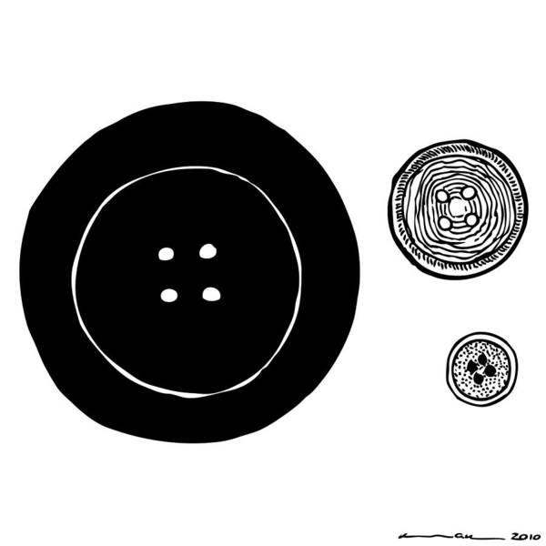Wall Art - Drawing - Buttons by Karl Addison