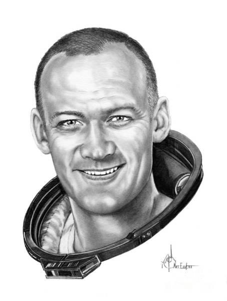 Astronaut Drawing - Buzz Aldrin by Murphy Elliott