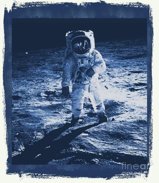 Space Exploration Digital Art - Buzz Aldrin On The Moon, Apollo 11, Nasa by Raphael Terra