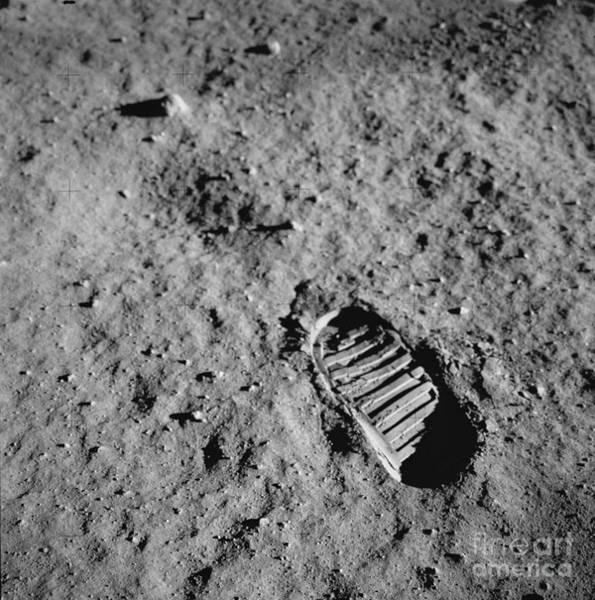 Photograph - Buzz Aldrins Moon Footprint by Nasa