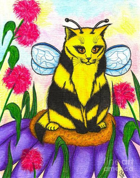 Buzz Bumble Bee Fairy Cat Art Print