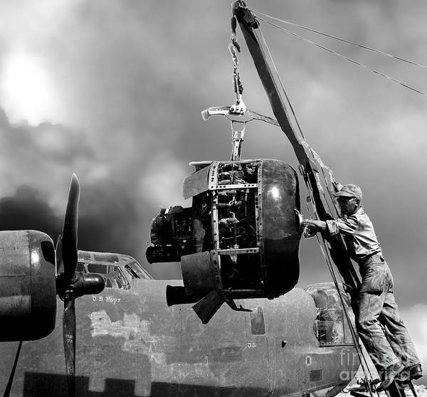 B24 Photograph - Bw B-24 Engine Clouds by MountainSky S