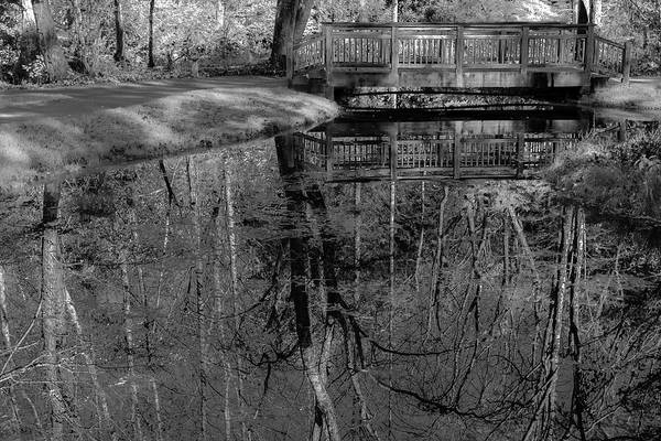 Photograph - Bw Footbridge And Reflections by Keith Smith