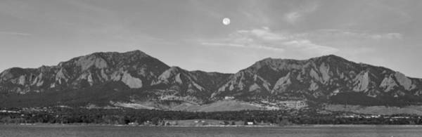Photograph - Bw Full Moon Boulder Colorado Front Range Panorama by James BO Insogna