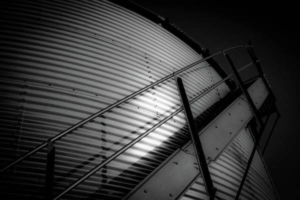 Photograph - Bw Grain Bin 4343 Bw_2 by Steven Ward