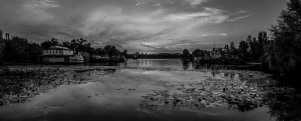Dnieper Photograph - Bw Panoramic View On The Sunset Over River Harbour In Ukraine by Yevhenii Volchenkov