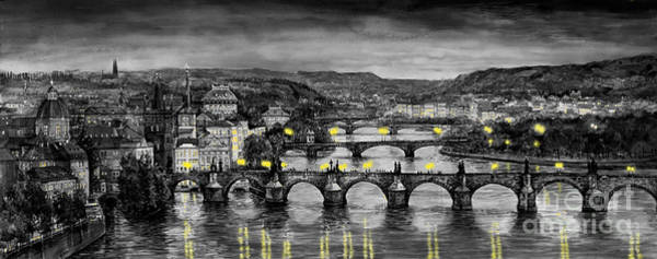 Wall Art - Painting - Bw Prague Bridges by Yuriy Shevchuk