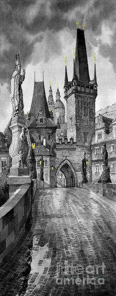 Wall Art - Painting - Bw Prague Charles Bridge 02 by Yuriy Shevchuk