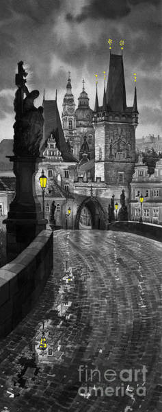Wall Art - Painting - Bw Prague Charles Bridge 03 by Yuriy Shevchuk