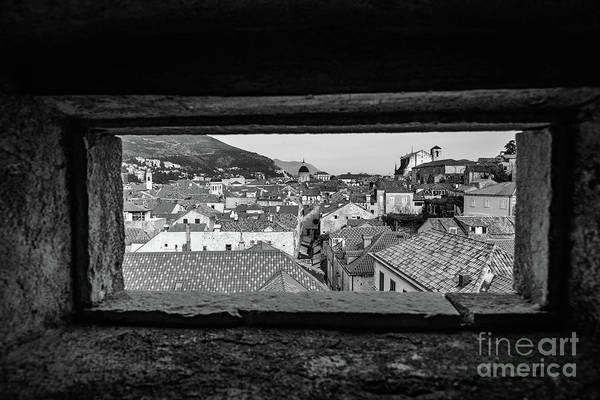 Photograph - Bw Roofs Of Dubrovnik, Kings Landing In Game Of Thrones, Through The City Walls, Dubrovnik, Croatia by Global Light Photography - Nicole Leffer