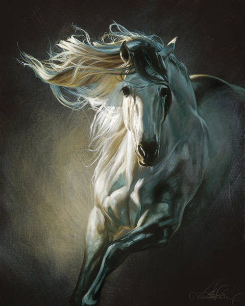 Andalusian Wall Art - Painting - By Moonlight by Heather Theurer