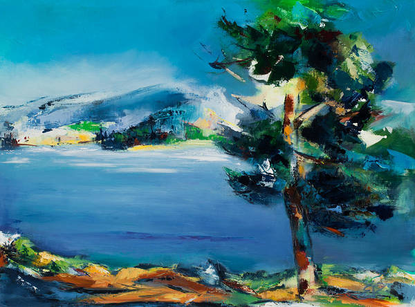Mountain Lake Painting - By The Lake by Elise Palmigiani