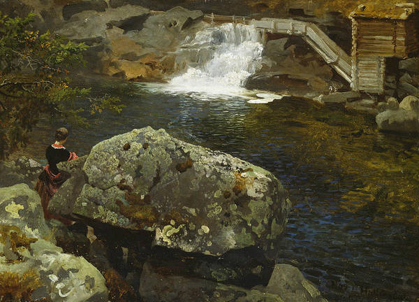 Norwegian Painting - By The Mill Pond by Hans Gude