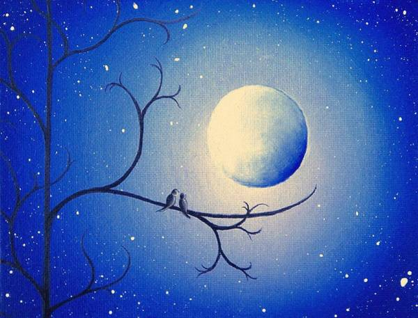Full Moon Painting - By The Night by Rachel Bingaman