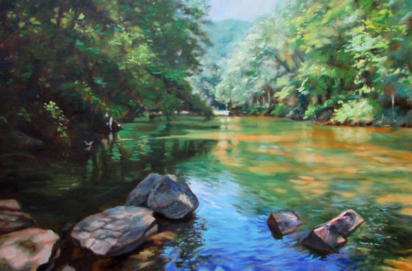 Oil Paints Painting - By The River by Bonnie Mason