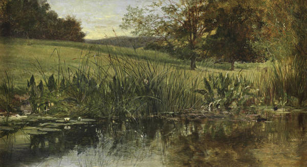Riverbank Painting - By The Riverbank, 1869 by Heywood Hardy