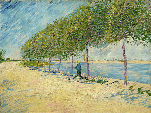 Moon Walk Wall Art - Painting - By The Seine by Vincent van Gogh