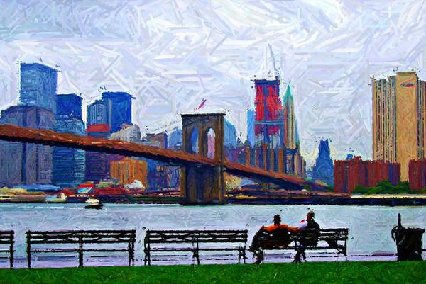 Brooklyn Bridge Digital Art - By The Water Too Sketch by Randy Aveille