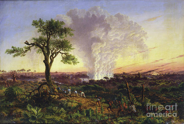 Victoria Falls Painting - by Thomas Baines by Mary Evans Picture Library