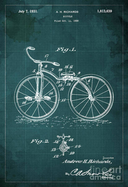 Wall Art - Painting - Bycicle Patent Blueprint Year 1930 Green Vintage Poster by Drawspots Illustrations