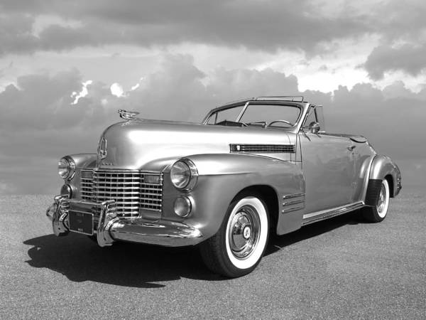 Photograph - Bygone Era - 1941 Cadillac Convertible In Black And White by Gill Billington