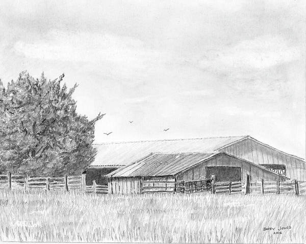 Drawing - Byhalia Road Farm - Drawing by Barry Jones