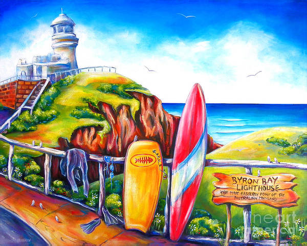 Lighthouse Painting - Byron Bay Lighthouse by Deb Broughton