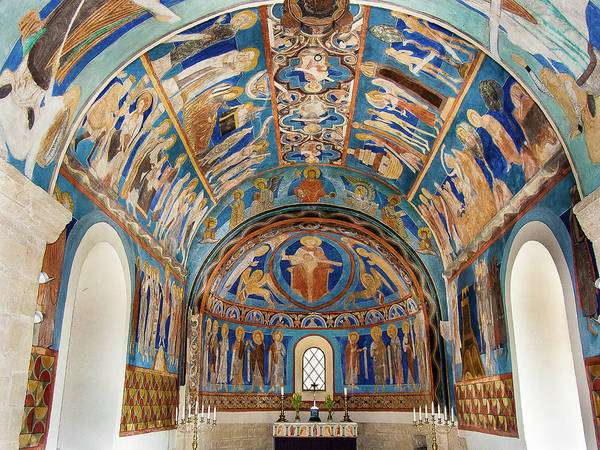 Pantocrator Photograph - Byzantine Frescoes In A Swedish Church by Stig Alenas