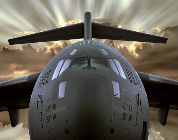 Cargo Plane Wall Art - Digital Art - C-17 Globemaster Military Transport Aircraft by Daniel Hagerman
