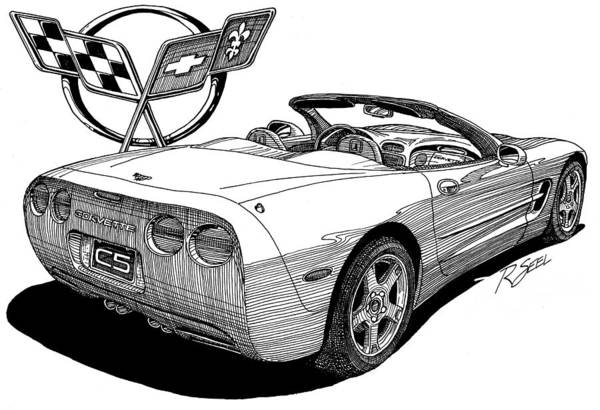 Chevrolet Drawing - C-5 Corvette Convertible by Rod Seel