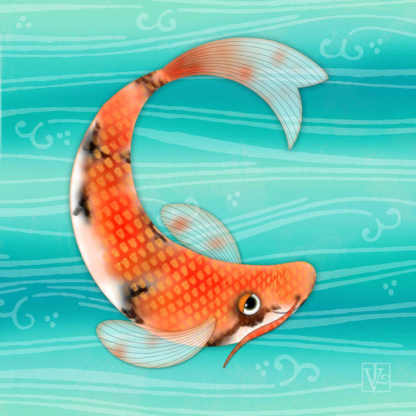 Wall Art - Digital Art - C Is For Cal The Curious Carp by Valerie Drake Lesiak