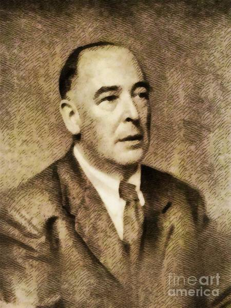 Poetry Painting - C. S. Lewis, Literary Legend by John Springfield