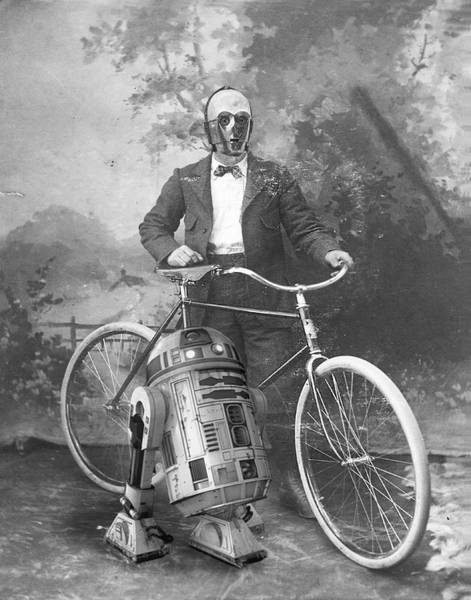 C3po Photograph - C3po And R2d2 With Vintage Bike by Amor Libertas