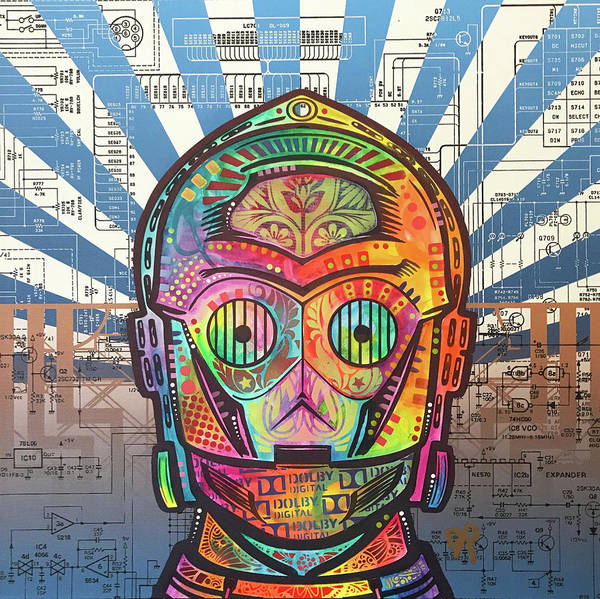 Star Wars Movie Painting - C3po by Dean Russo Art
