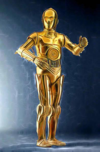 R2-d2 Digital Art - C3po Good In Gold by Scott Campbell