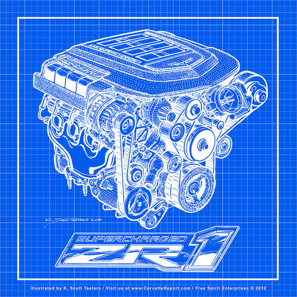 Digital Art - C6 Zr1 Corvette Ls9 Engine Blueprint by K Scott Teeters