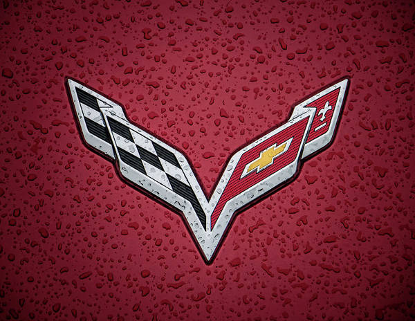 Corvette Wall Art - Digital Art - C7 Badge Red by Douglas Pittman