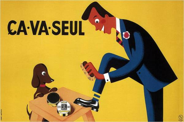 Belgium Mixed Media - Ca Va Seul - Man Polishing Shoes - Vintage Advertising Poster by Studio Grafiikka
