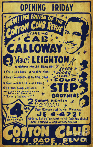 Wall Art - Digital Art - Cab Calloway Poster. Four Step Brother, Cotton Club. Awesome Show by Drawspots Illustrations