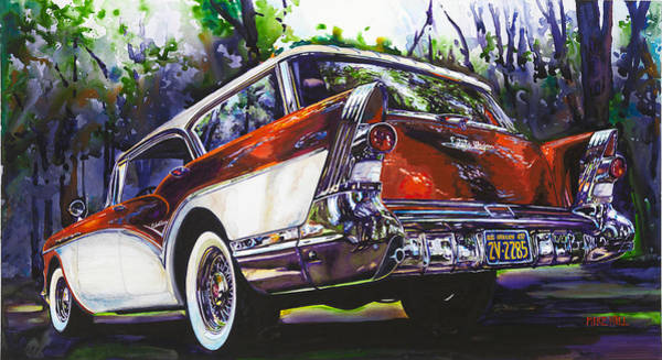 Red Wagon Wall Art - Painting - Caballero Estate Wagon by Mike Hill