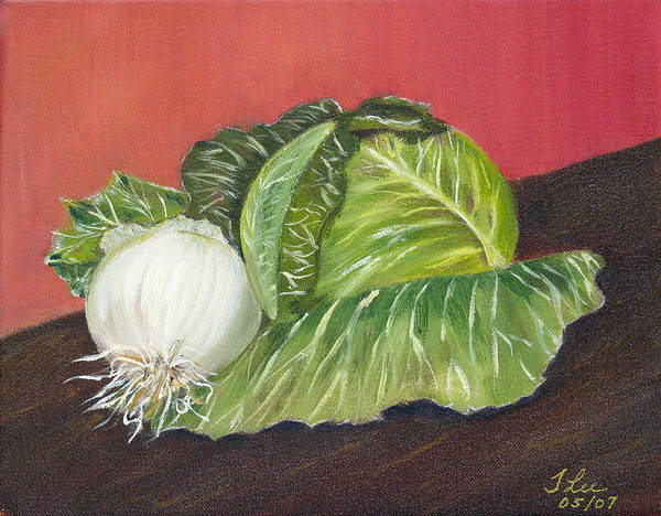 Cabbage White Painting - Cabbage And Vidalia by Tracie L Hawkins