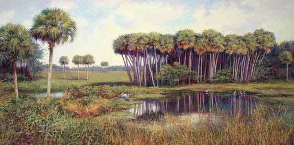 Swamp Painting - Cabbage Palm Hammock by Laurie Snow Hein